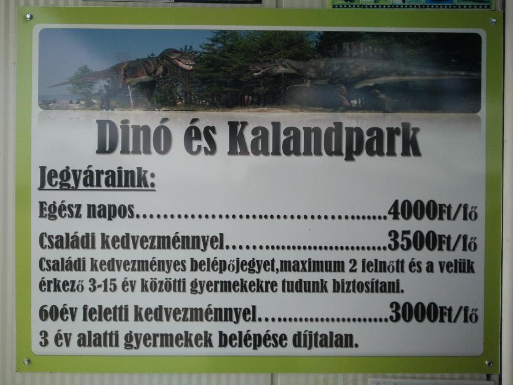 Rezi Dínópark belépőjegy információk