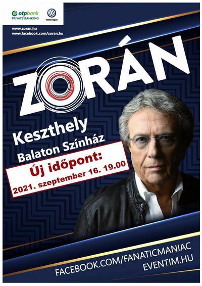 Zorán koncert Keszthelyen a Balaton Színházban 2021. szeptember 16-án 19 órától.