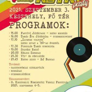 Nagy Keszthelyi Retro Party 2021. szepember 3-án 15 órától a Fő téren.